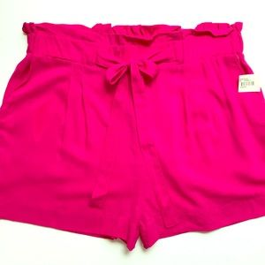 AMBIANCE APPAREL SHORTS PINK TIES AT WAIST JUNIORS